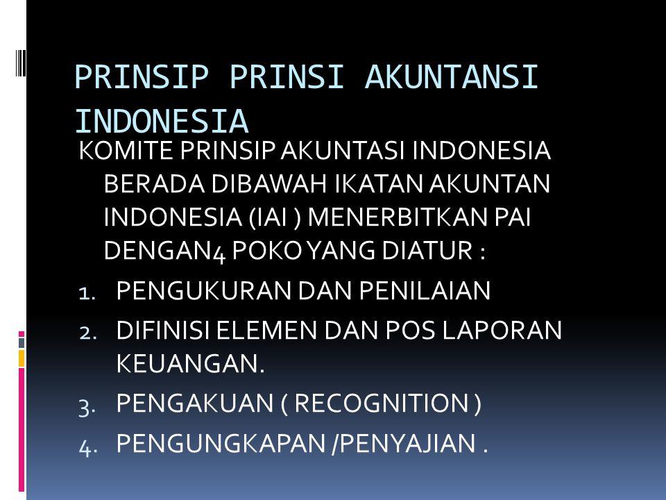 PRINSIP PRINSI AKUNTANSI INDONESIA KOMITE PRINSIP AKUNTASI INDONESIA BERADA DIBAWAH IKATAN AKUNTAN INDONESIA (IAI ) MENERBITKAN PAI DENGAN4 POKO YANG DIATUR : 1.