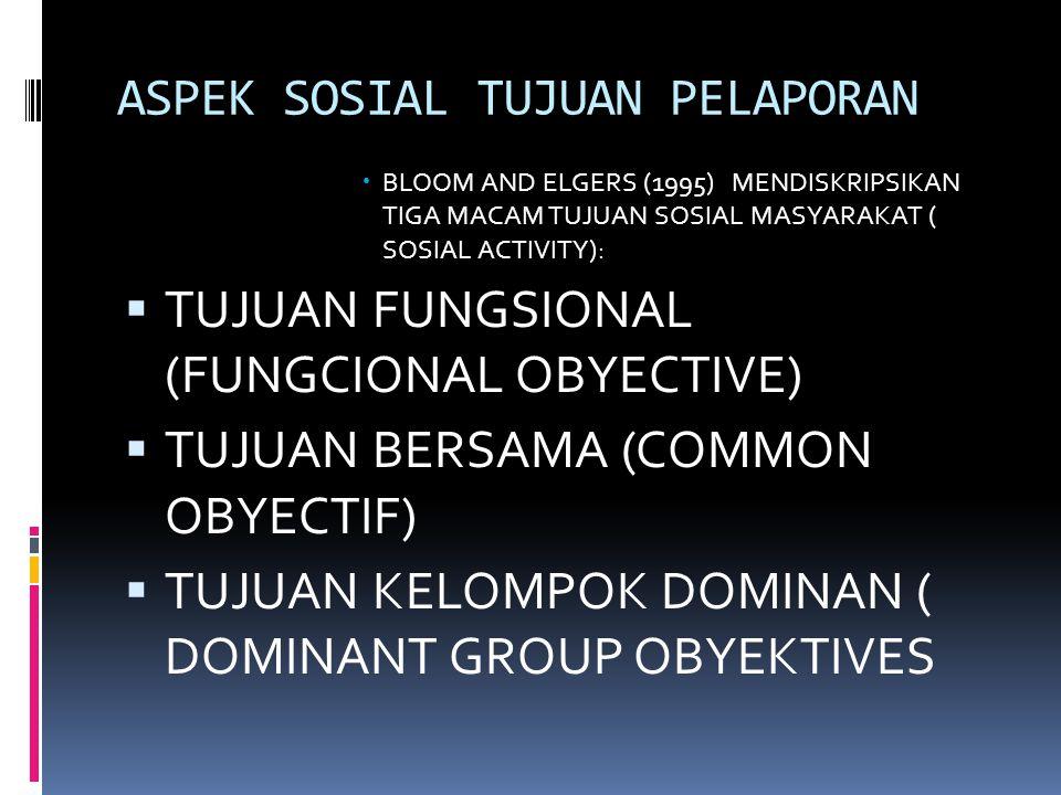 ASPEK SOSIAL TUJUAN PELAPORAN  BLOOM AND ELGERS (1995) MENDISKRIPSIKAN TIGA MACAM TUJUAN SOSIAL MASYARAKAT ( SOSIAL ACTIVITY):  TUJUAN FUNGSIONAL (FUNGCIONAL OBYECTIVE)  TUJUAN BERSAMA (COMMON OBYECTIF)  TUJUAN KELOMPOK DOMINAN ( DOMINANT GROUP OBYEKTIVES