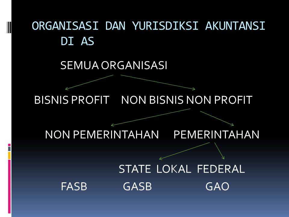 ORGANISASI DAN YURISDIKSI AKUNTANSI DI AS SEMUA ORGANISASI BISNIS PROFIT NON BISNIS NON PROFIT NON PEMERINTAHAN PEMERINTAHAN STATE LOKAL FEDERAL FASB GASBGAO