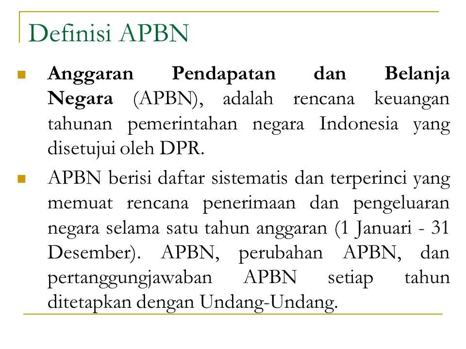 Definisi APBN Anggaran Pendapatan dan Belanja Negara (APBN), adalah rencana keuangan tahunan pemerintahan negara Indonesia yang disetujui oleh DPR. AP