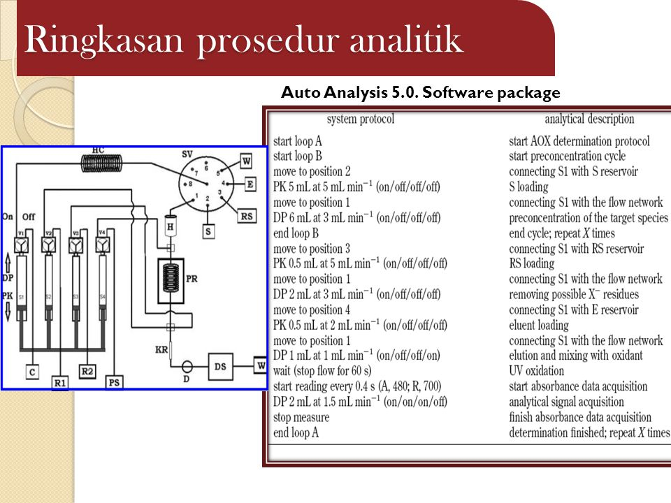 Ringkasan prosedur analitik Auto Analysis 5.0. Software package