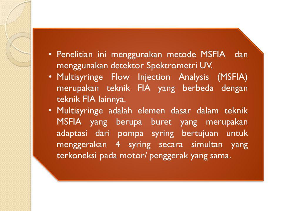Penelitian ini menggunakan metode MSFIA dan menggunakan detektor Spektrometri UV.
