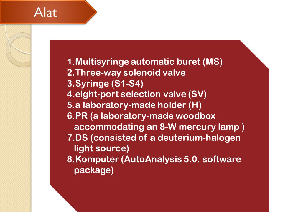 Alat Alat 1.Multisyringe automatic buret (MS) 2.Three-way solenoid valve 3.Syringe (S1-S4) 4.eight-port selection valve (SV) 5.a laboratory-made holder (H) 6.PR (a laboratory-made woodbox accommodating an 8-W mercury lamp ) 7.DS (consisted of a deuterium-halogen light source) 8.Komputer (AutoAnalysis 5.0.