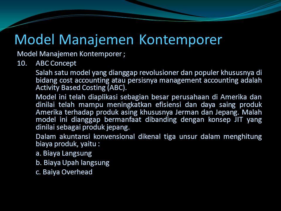 Model Manajemen Kontemporer Model Manajemen Kontemporer ; 10.ABC Concept Salah satu model yang dianggap revolusioner dan populer khususnya di bidang c