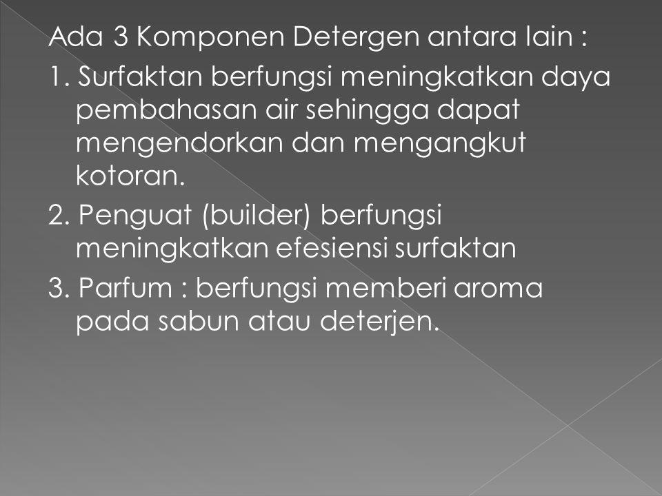 Ada 3 Komponen Detergen antara lain : 1. Surfaktan berfungsi meningkatkan daya pembahasan air sehingga dapat mengendorkan dan mengangkut kotoran. 2. P