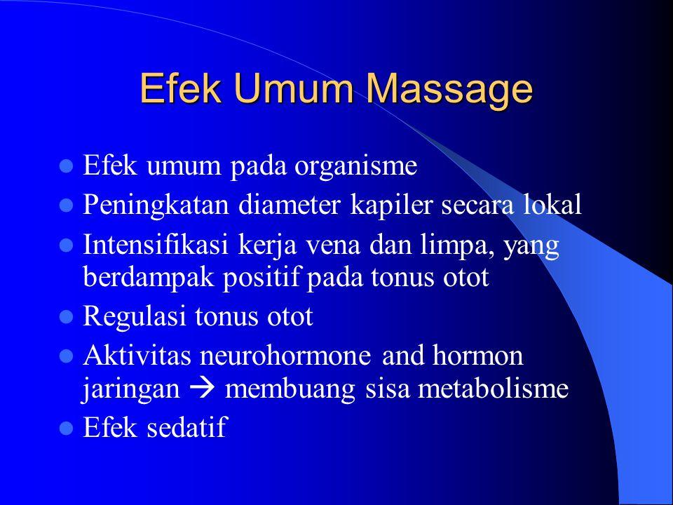 Efek Umum Massage Efek umum pada organisme Peningkatan diameter kapiler secara lokal Intensifikasi kerja vena dan limpa, yang berdampak positif pada t
