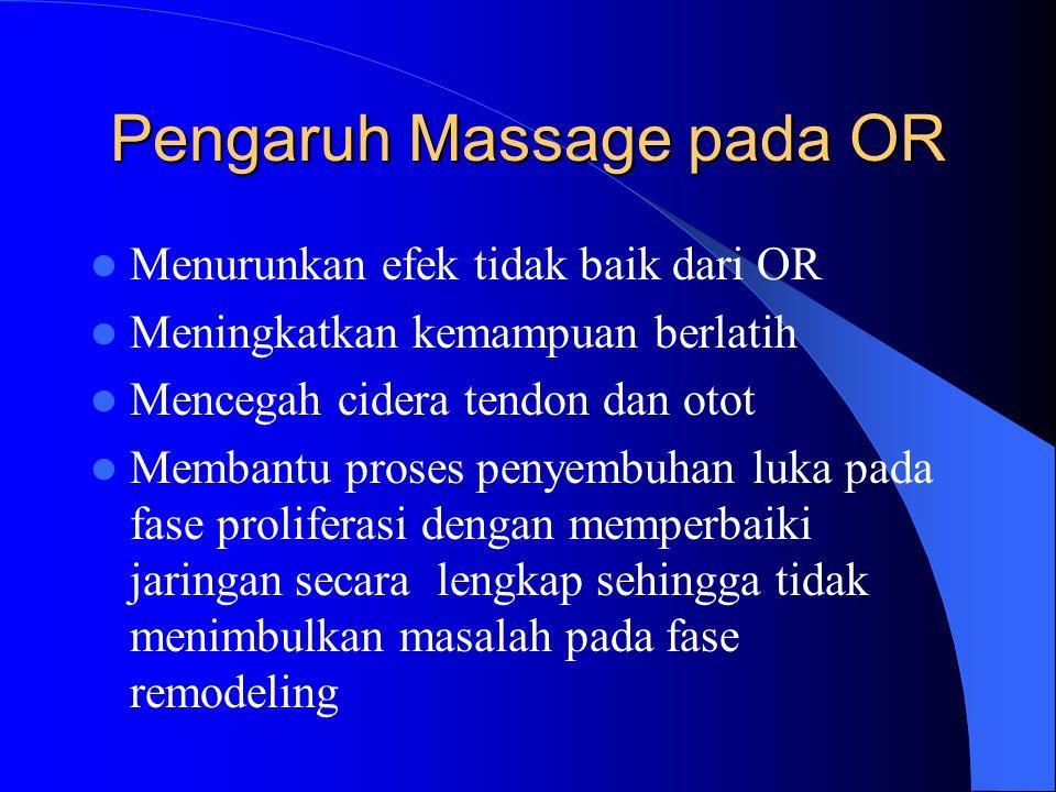 Pengaruh Massage pada OR Menurunkan efek tidak baik dari OR Meningkatkan kemampuan berlatih Mencegah cidera tendon dan otot Membantu proses penyembuha