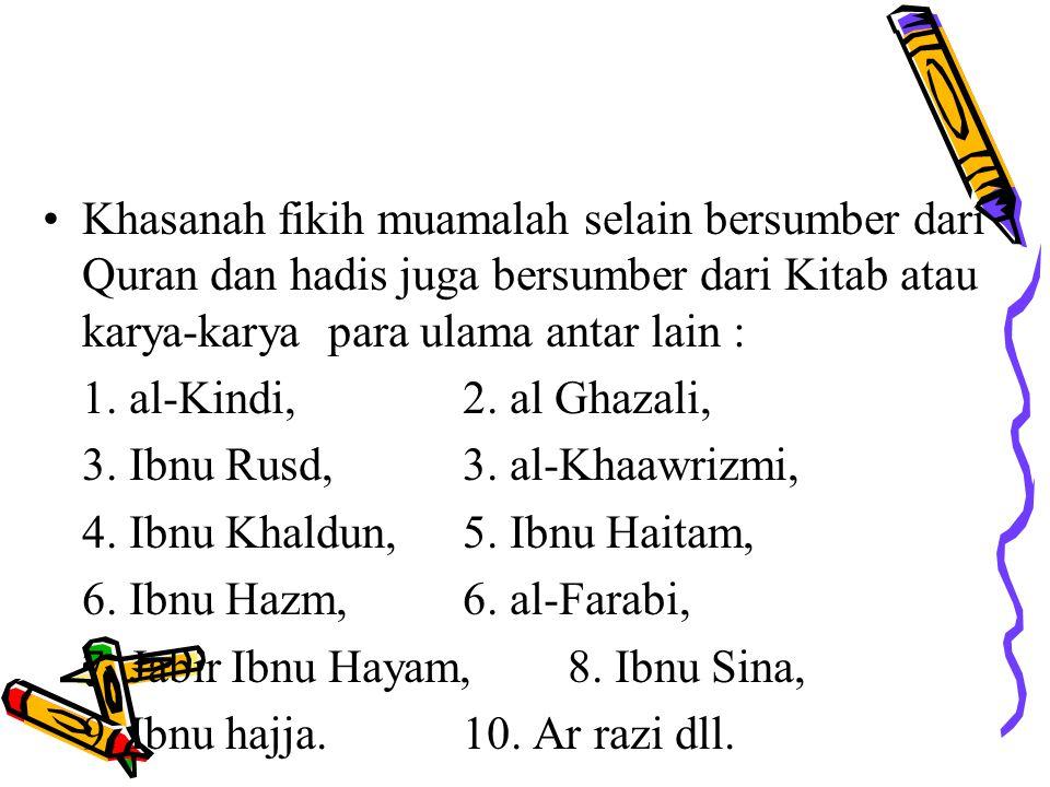 Islam memiliki khasanah fiqih muamalah yang sangat kaya dan luas, diantara khasanah tersebut adalah prinsip Syirkah al Inan, al Mudharabah, Bai'as Sal
