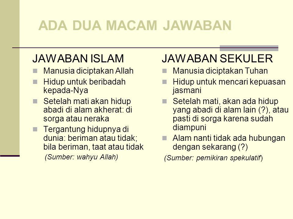 Harus dijawab Jawaban dari simpul besar, sebagai Aqidah Fikrah kulliyah Qaidah fikriyah Al-Nadzratu fi al-hayati al- dunya Mempengaruhi gaya hidup Men