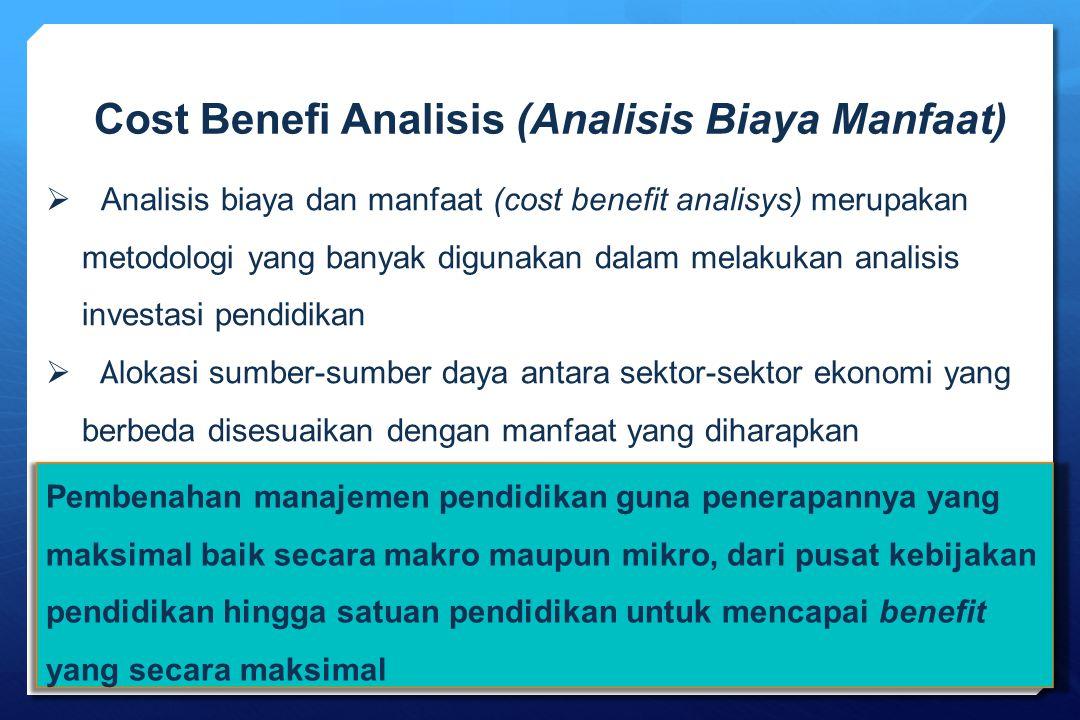 Cost Benefi Analisis (Analisis Biaya Manfaat)  Analisis biaya dan manfaat (cost benefit analisys) merupakan metodologi yang banyak digunakan dalam me