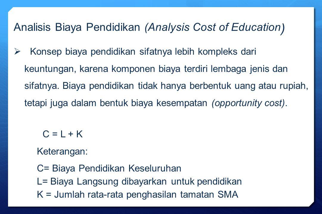 Analisis Biaya Pendidikan (Analysis Cost of Education )  Konsep biaya pendidikan sifatnya lebih kompleks dari keuntungan, karena komponen biaya terdi