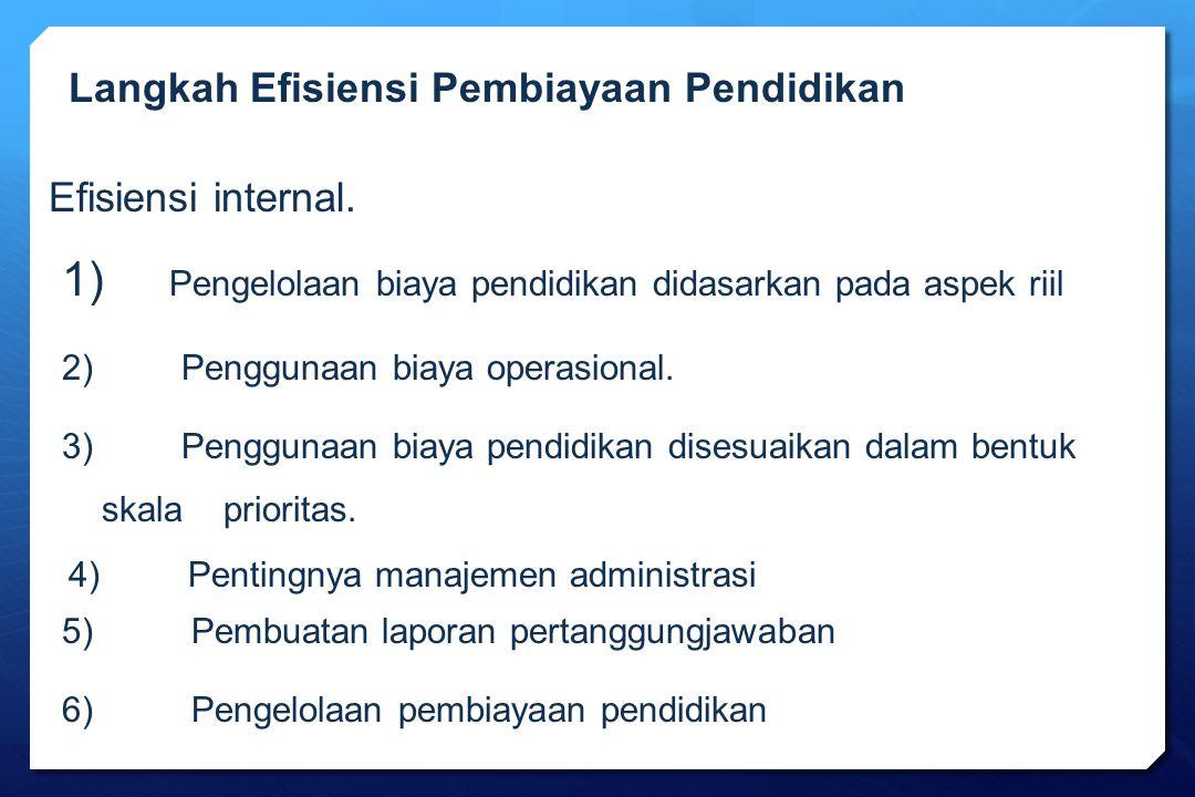 Efisiensi internal. 1) Pengelolaan biaya pendidikan didasarkan pada aspek riil 2) Penggunaan biaya operasional. 3) Penggunaan biaya pendidikan disesua