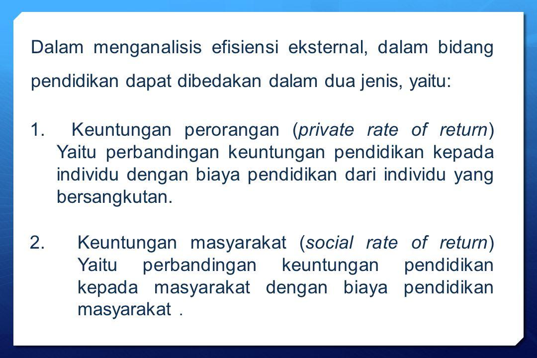1. Keuntungan perorangan (private rate of return) Yaitu perbandingan keuntungan pendidikan kepada individu dengan biaya pendidikan dari individu yang