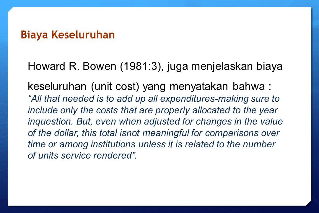 """Biaya Keseluruhan Howard R. Bowen (1981:3), juga menjelaskan biaya keseluruhan (unit cost) yang menyatakan bahwa : """"All that needed is to add up all e"""