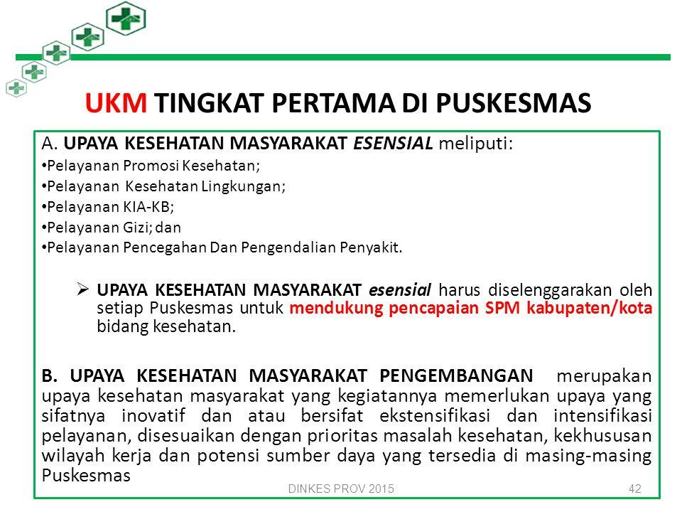 Upaya Puskesmas UKM Tingkat Pertama UKP Tingkat Pertama 41 Untuk melaksanakan UKM dan UKP tingkat pertama, Puskesmas harus menyelenggarakan: 1.