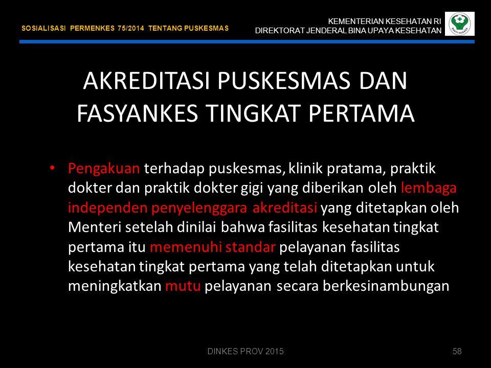 AKREDITASI KEMENTERIAN KESEHATAN RI DIREKTORAT JENDERAL BINA UPAYA KESEHATAN SOSIALISASI PERMENKES 75/2014 TENTANG PUSKESMAS