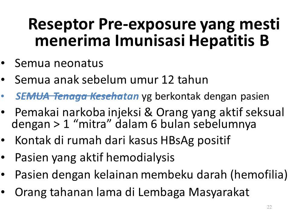 Reseptor Pre-exposure yang mesti menerima Imunisasi Hepatitis B Semua neonatus Semua anak sebelum umur 12 tahun SEMUA Tenaga Kesehatan yg berkontak dengan pasien Pemakai narkoba injeksi & Orang yang aktif seksual dengan > 1 mitra dalam 6 bulan sebelumnya Kontak di rumah dari kasus HBsAg positif Pasien yang aktif hemodialysis Pasien dengan kelainan membeku darah (hemofilia) Orang tahanan lama di Lembaga Masyarakat 22