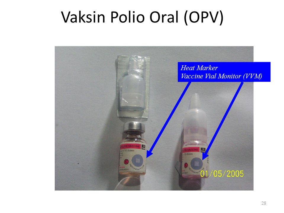 Vaksin Polio Oral (OPV) Heat Marker Vaccine Vial Monitor (VVM) 28
