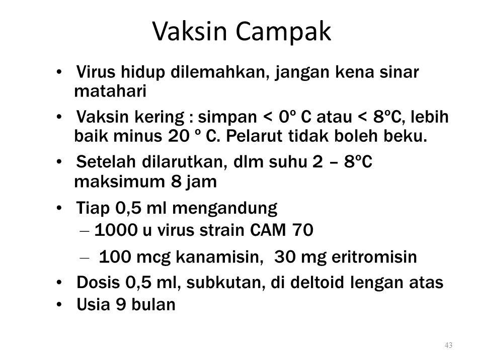 Vaksin Campak Virus hidup dilemahkan, jangan kena sinar matahari Vaksin kering : simpan < 0º C atau < 8ºC, lebih baik minus 20 º C. Pelarut tidak bole