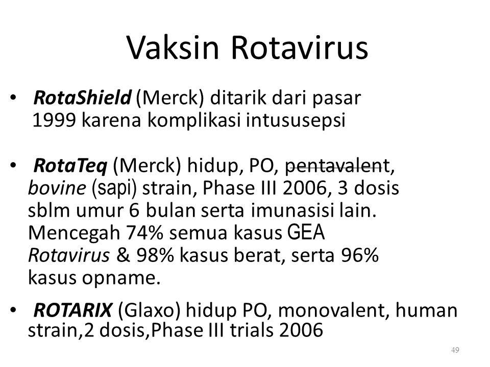 Vaksin Rotavirus RotaShield (Merck) ditarik dari pasar 1999 karena komplikasi intususepsi RotaTeq (Merck) hidup, PO, pentavalent, bovine (sapi) strain, Phase III 2006, 3 dosis sblm umur 6 bulan serta imunasisi lain.