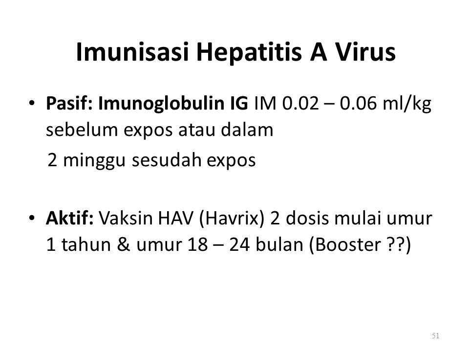 Imunisasi Hepatitis A Virus Pasif: Imunoglobulin IG IM 0.02 – 0.06 ml/kg sebelum expos atau dalam 2 minggu sesudah expos Aktif: Vaksin HAV (Havrix) 2