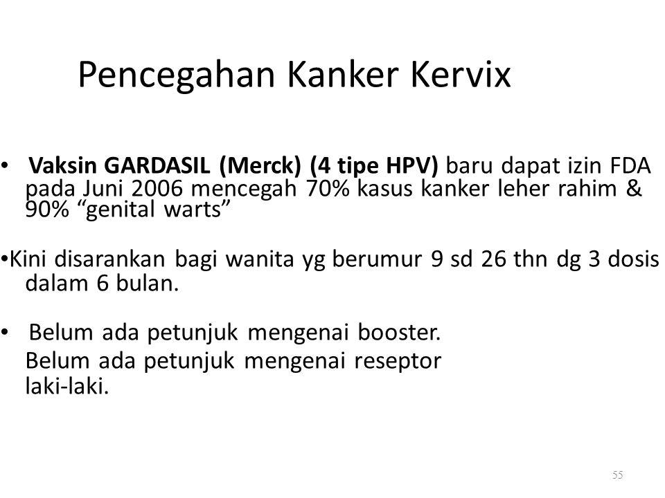 Pencegahan Kanker Kervix Vaksin GARDASIL (Merck) (4 tipe HPV) baru dapat izin FDA pada Juni 2006 mencegah 70% kasus kanker leher rahim & 90% genital warts Kini disarankan bagi wanita yg berumur 9 sd 26 thn dg 3 dosis dalam 6 bulan.