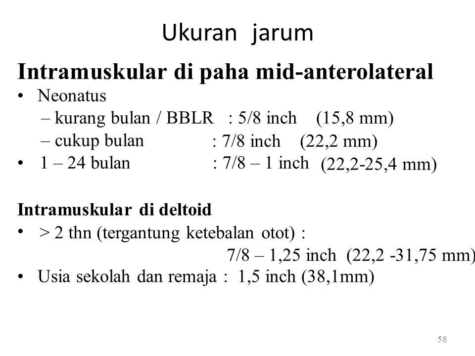 Ukuran jarum Intramuskular di paha mid-anterolateral Neonatus – kurang bulan / BBLR : 5/8 inch (15,8 mm) – cukup bulan : 7/8 inch (22,2 mm) 1 – 24 bulan: 7/8 – 1 inch (22,2-25,4 mm) Intramuskular di deltoid > 2 thn (tergantung ketebalan otot) : 7/8 – 1,25 inch (22,2 -31,75 mm) Usia sekolah dan remaja : 1,5 inch (38,1mm) 58