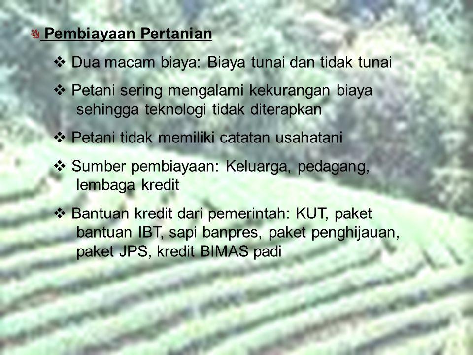 Pembiayaan Pertanian  Dua macam biaya: Biaya tunai dan tidak tunai  Petani sering mengalami kekurangan biaya sehingga teknologi tidak diterapkan  P