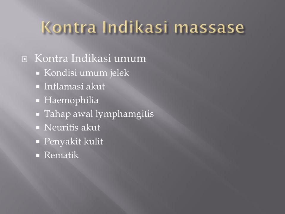  Kontra Indikasi umum  Kondisi umum jelek  Inflamasi akut  Haemophilia  Tahap awal lymphamgitis  Neuritis akut  Penyakit kulit  Rematik