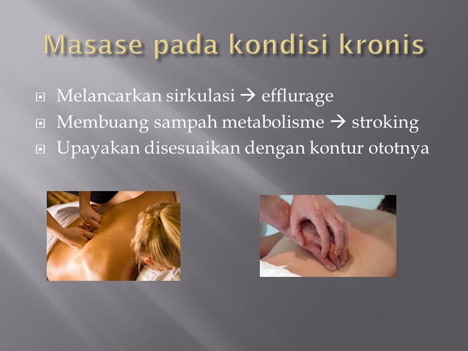  Melancarkan sirkulasi  efflurage  Membuang sampah metabolisme  stroking  Upayakan disesuaikan dengan kontur ototnya