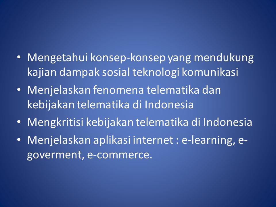 Mengetahui konsep-konsep yang mendukung kajian dampak sosial teknologi komunikasi Menjelaskan fenomena telematika dan kebijakan telematika di Indonesi