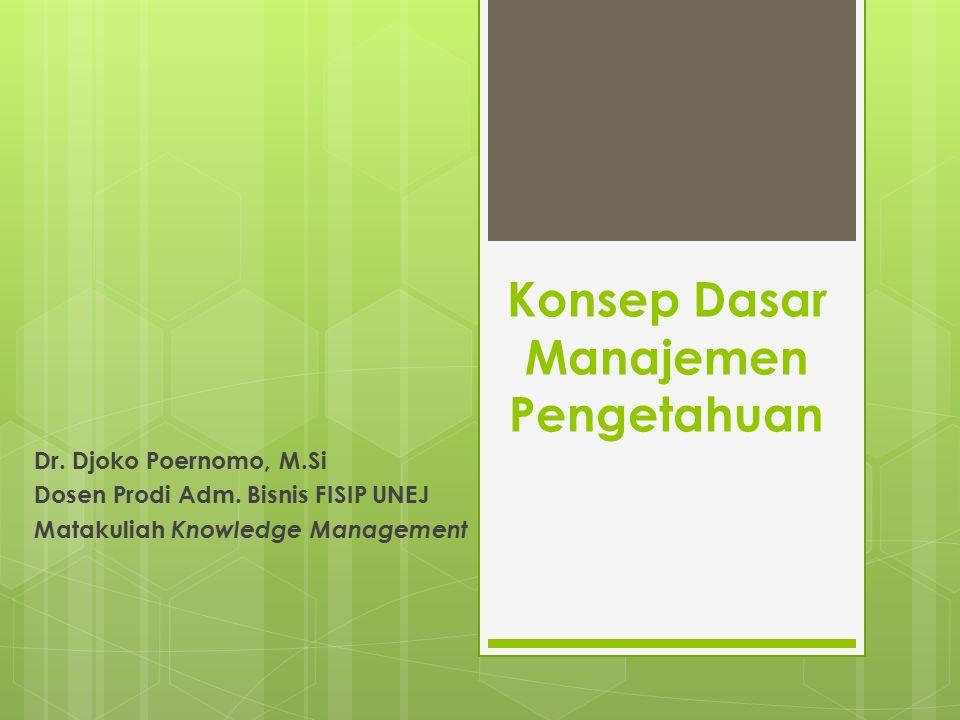 Konsep Dasar Manajemen Pengetahuan Dr. Djoko Poernomo, M.Si Dosen Prodi Adm. Bisnis FISIP UNEJ Matakuliah Knowledge Management