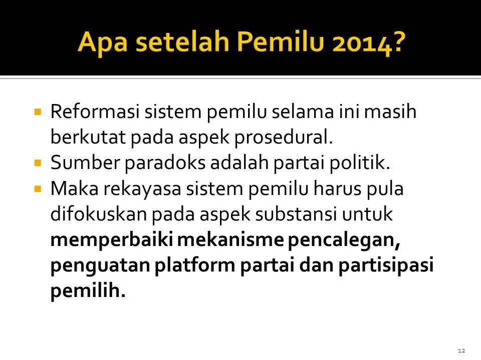  Reformasi sistem pemilu selama ini masih berkutat pada aspek prosedural.  Sumber paradoks adalah partai politik.  Maka rekayasa sistem pemilu haru