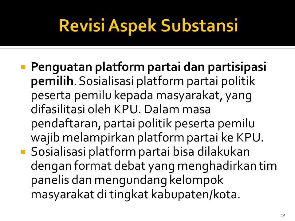  Penguatan platform partai dan partisipasi pemilih. Sosialisasi platform partai politik peserta pemilu kepada masyarakat, yang difasilitasi oleh KPU.