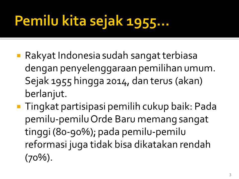  Rakyat Indonesia sudah sangat terbiasa dengan penyelenggaraan pemilihan umum. Sejak 1955 hingga 2014, dan terus (akan) berlanjut.  Tingkat partisip