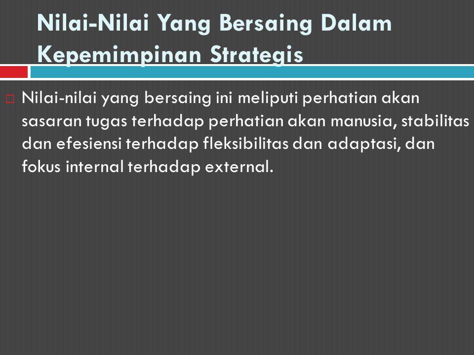 Nilai-Nilai Yang Bersaing Dalam Kepemimpinan Strategis  Nilai-nilai yang bersaing ini meliputi perhatian akan sasaran tugas terhadap perhatian akan m