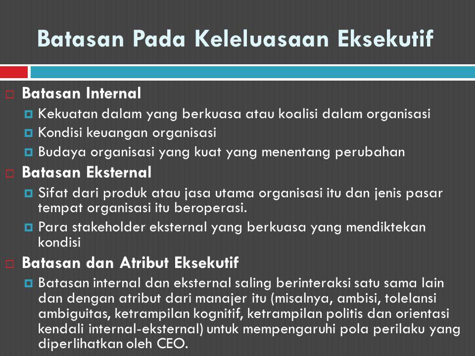 Batasan Pada Keleluasaan Eksekutif  Batasan Internal  Kekuatan dalam yang berkuasa atau koalisi dalam organisasi  Kondisi keuangan organisasi  Bud