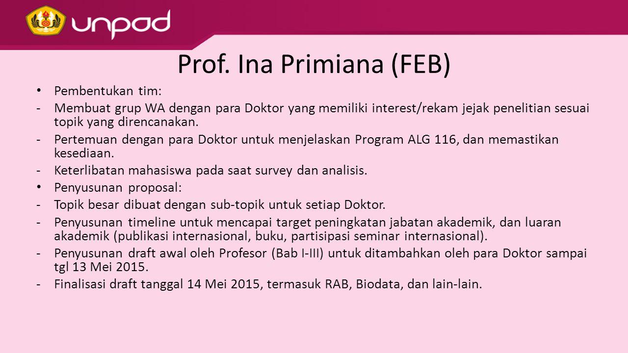 Prof. Ina Primiana (FEB) Pembentukan tim: -Membuat grup WA dengan para Doktor yang memiliki interest/rekam jejak penelitian sesuai topik yang direncan