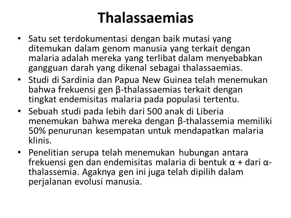 Thalassaemias Satu set terdokumentasi dengan baik mutasi yang ditemukan dalam genom manusia yang terkait dengan malaria adalah mereka yang terlibat da