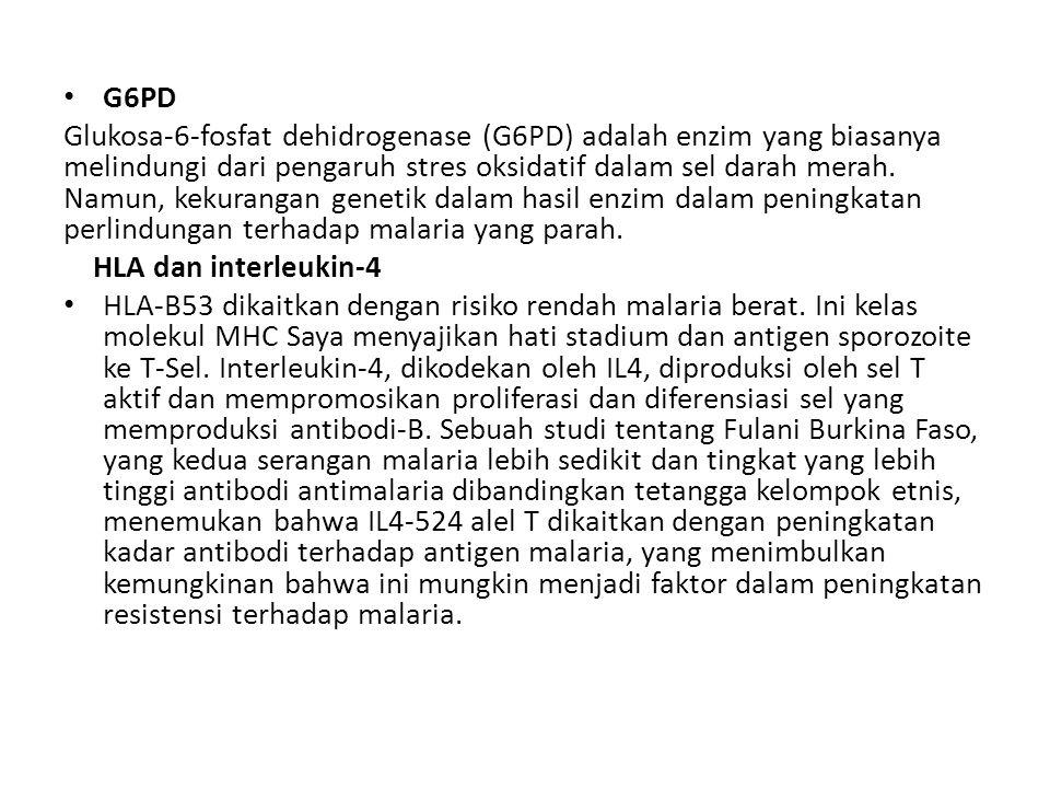 G6PD Glukosa-6-fosfat dehidrogenase (G6PD) adalah enzim yang biasanya melindungi dari pengaruh stres oksidatif dalam sel darah merah. Namun, kekuranga