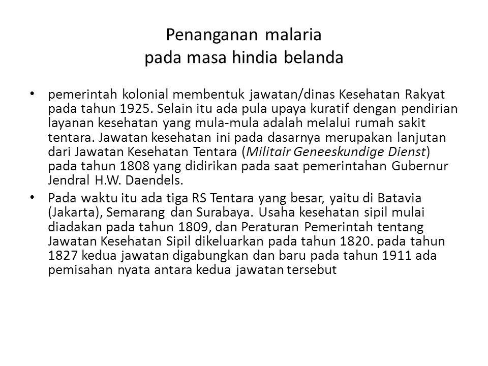 Penanganan malaria pada masa hindia belanda pemerintah kolonial membentuk jawatan/dinas Kesehatan Rakyat pada tahun 1925. Selain itu ada pula upaya ku