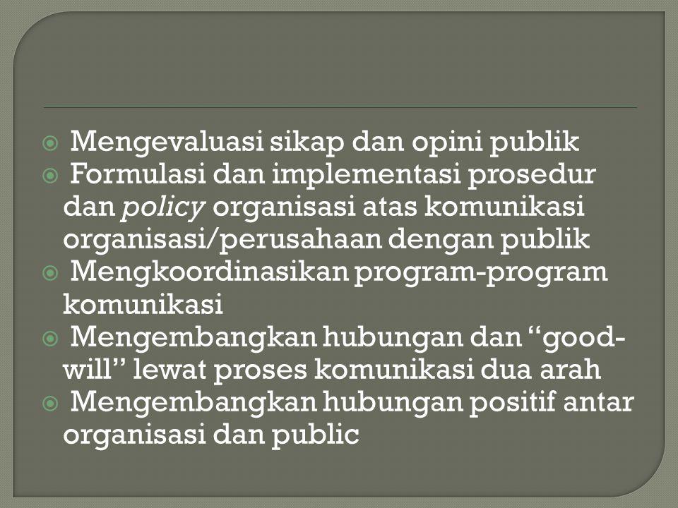  Mengevaluasi sikap dan opini publik  Formulasi dan implementasi prosedur dan policy organisasi atas komunikasi organisasi/perusahaan dengan publik