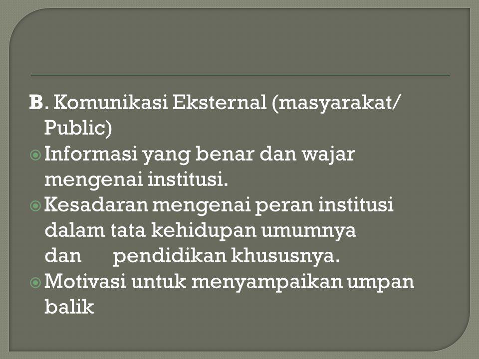 B. Komunikasi Eksternal (masyarakat/ Public)  Informasi yang benar dan wajar mengenai institusi.  Kesadaran mengenai peran institusi dalam tata kehi