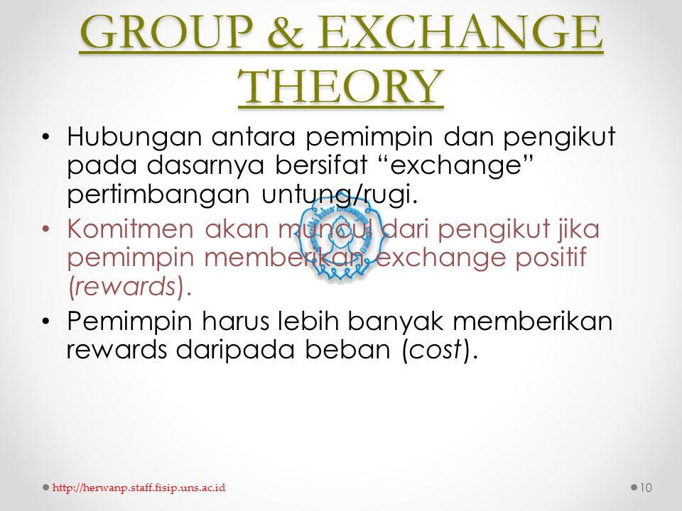 """GROUP & EXCHANGE THEORY Hubungan antara pemimpin dan pengikut pada dasarnya bersifat """"exchange"""" pertimbangan untung/rugi. Komitmen akan muncul dari pe"""