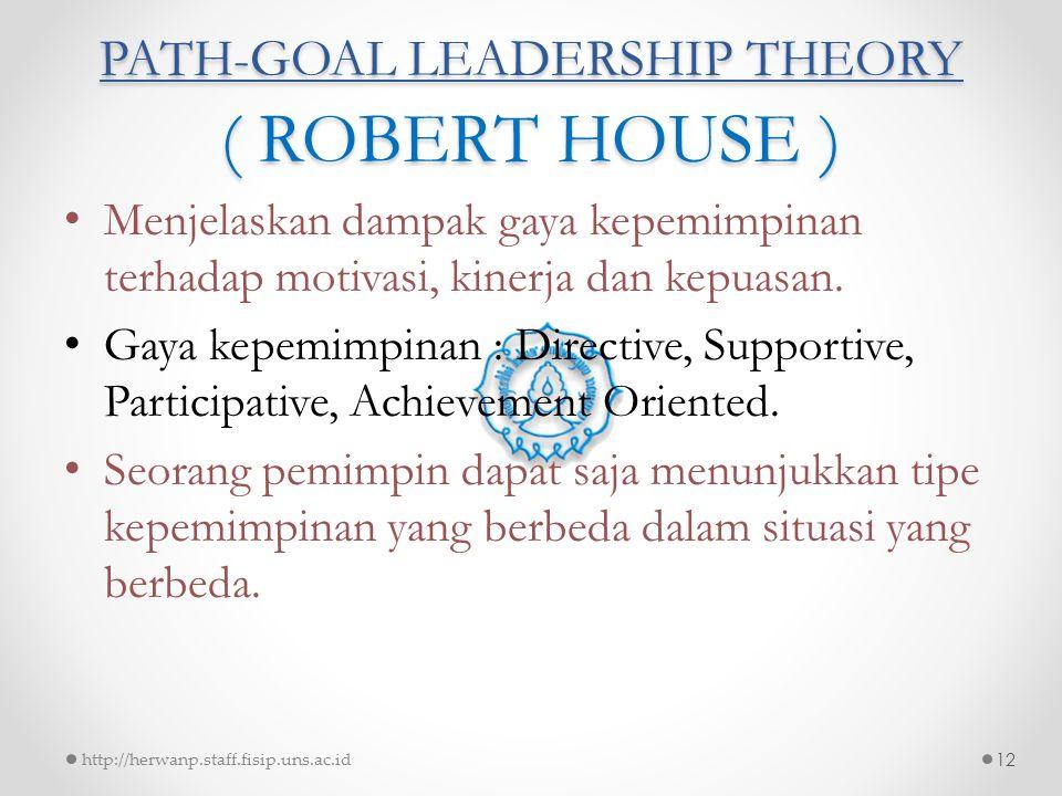 PATH-GOAL LEADERSHIP THEORY ( ROBERT HOUSE ) Menjelaskan dampak gaya kepemimpinan terhadap motivasi, kinerja dan kepuasan. Gaya kepemimpinan : Directi