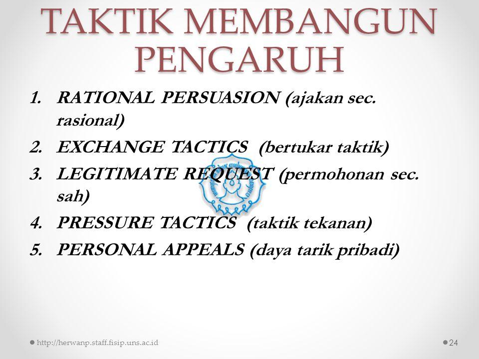 TAKTIK MEMBANGUN PENGARUH 1.RATIONAL PERSUASION (ajakan sec. rasional) 2.EXCHANGE TACTICS (bertukar taktik) 3.LEGITIMATE REQUEST (permohonan sec. sah)