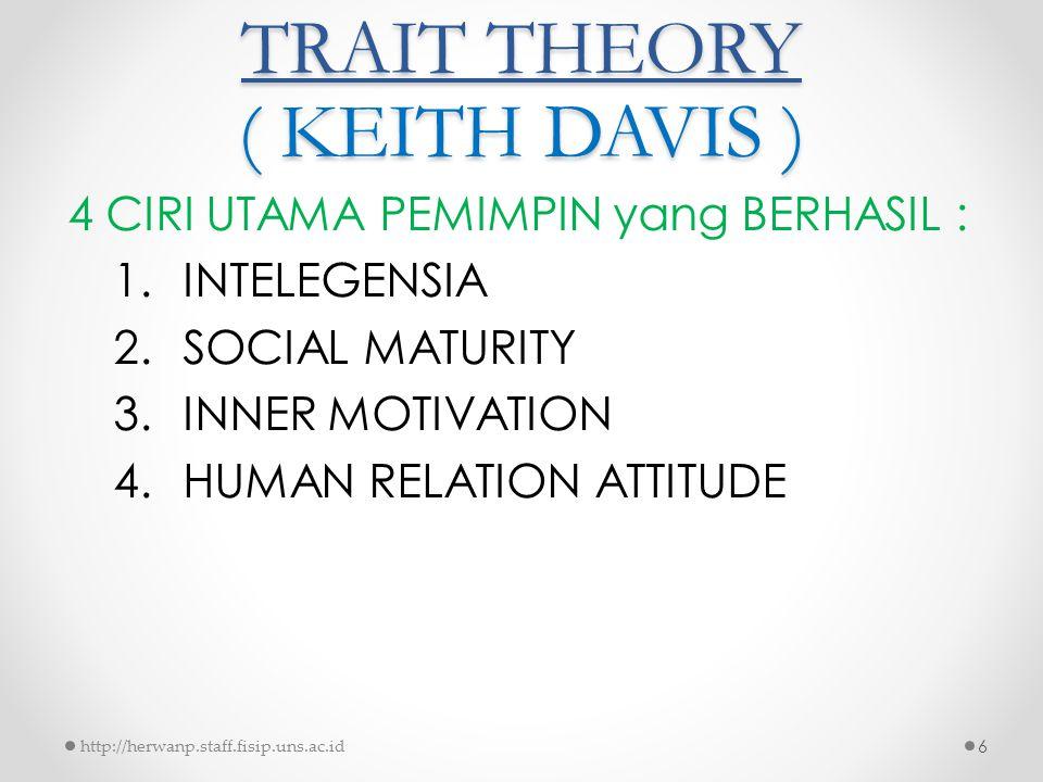 TRAIT THEORY ( KEITH DAVIS ) 4 CIRI UTAMA PEMIMPIN yang BERHASIL : 1.INTELEGENSIA 2.SOCIAL MATURITY 3.INNER MOTIVATION 4.HUMAN RELATION ATTITUDE http:
