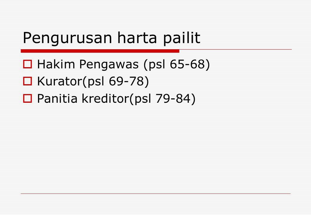 Pengurusan harta pailit HHakim Pengawas (psl 65-68) KKurator(psl 69-78) PPanitia kreditor(psl 79-84)
