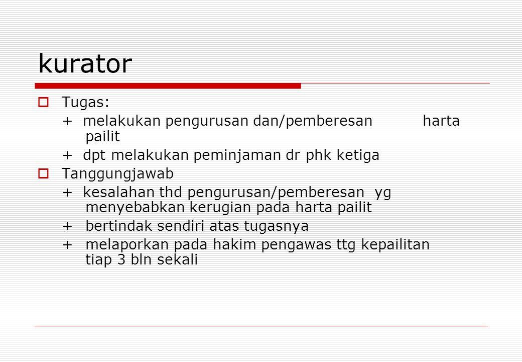 kurator  Tugas: + melakukan pengurusan dan/pemberesan harta pailit + dpt melakukan peminjaman dr phk ketiga  Tanggungjawab + kesalahan thd pengurusa