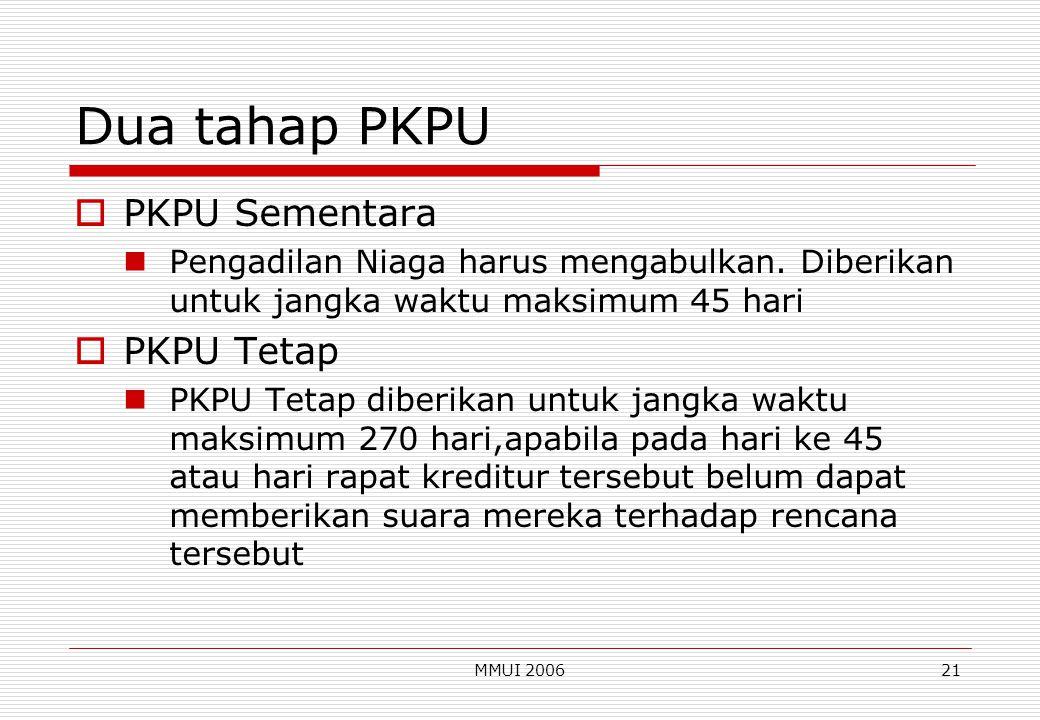 MMUI 200621 Dua tahap PKPU  PKPU Sementara Pengadilan Niaga harus mengabulkan. Diberikan untuk jangka waktu maksimum 45 hari  PKPU Tetap PKPU Tetap